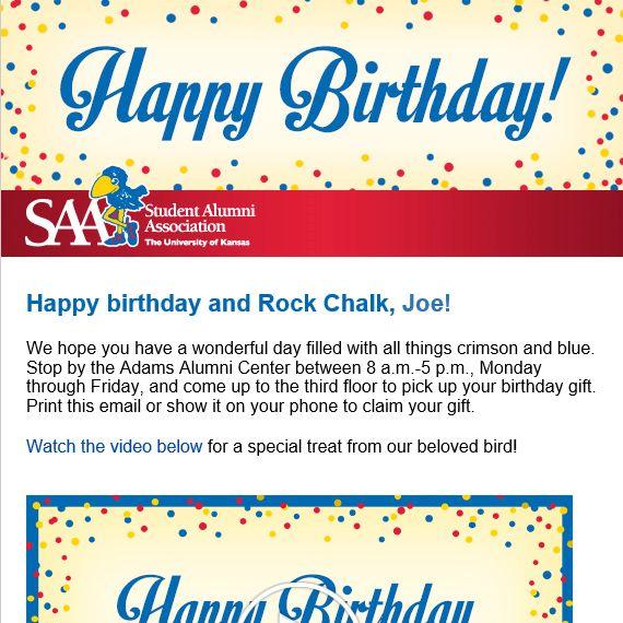 Happy Birthday Email: The University Of Kansas Alumni Association