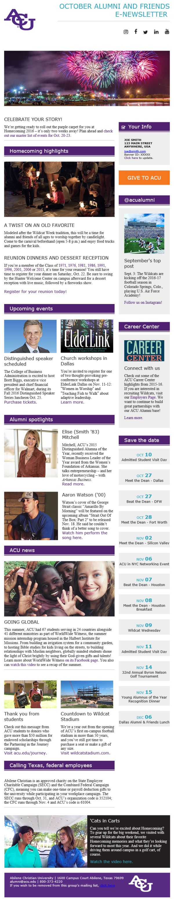 imodules mobile newsletter template abilene christian university