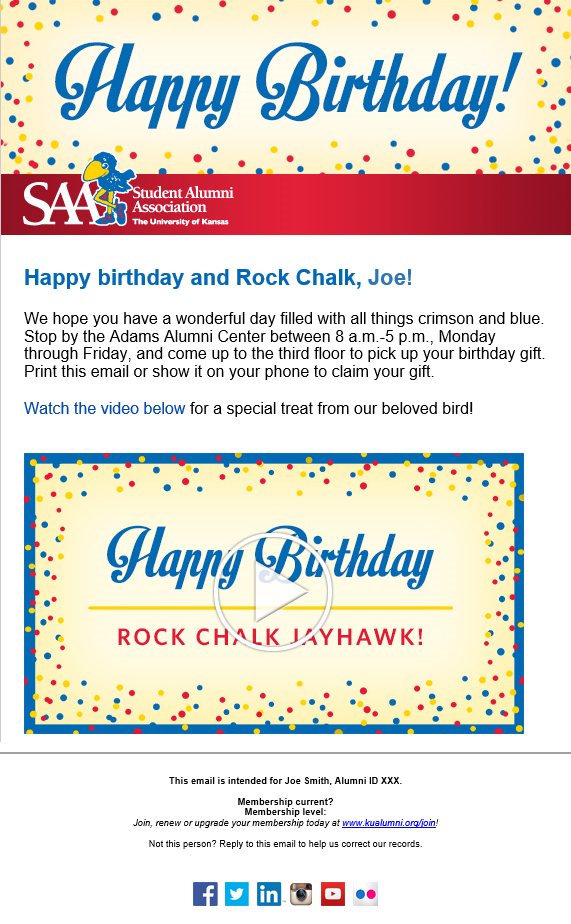 But Also Gives The Association Chance To Interact Face With Recipient When They Stop By Alumni Center Pick Up A Birthday Gift