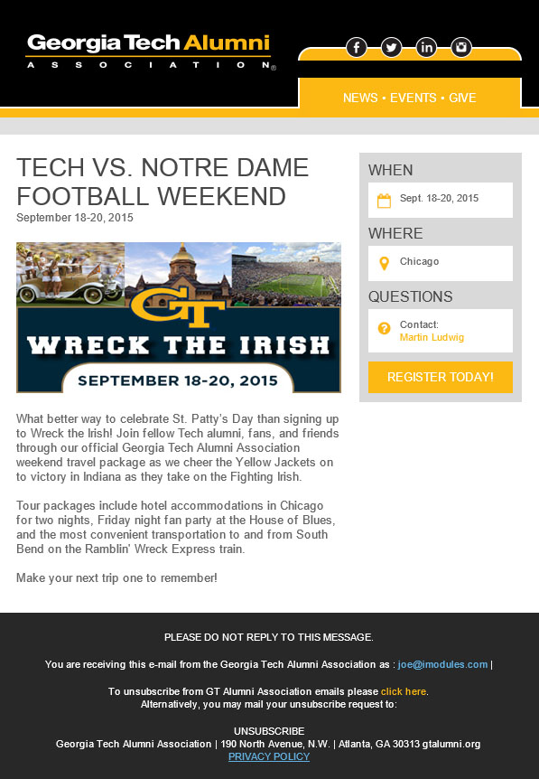 iModules - Mobile Event Email Template: Georgia Tech Alumni Association