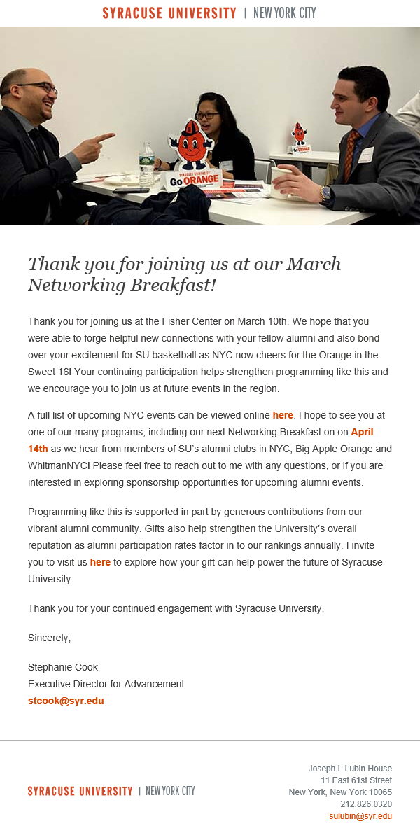 EMAIL A Message To No Shows Includes Personal Sorry We Missed You And An Invitation The Next Networking Breakfast