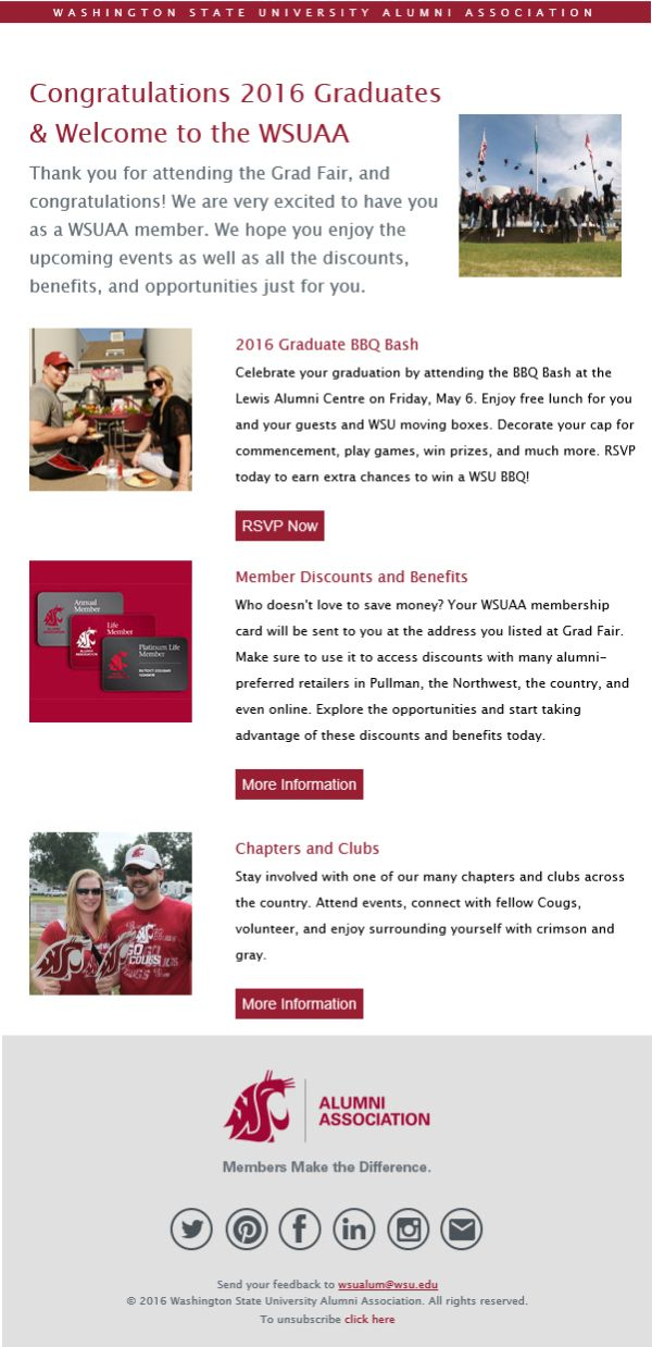 Imodules engaging graduates washington state university email a welcome email to graduates neatly outlines next steps for staying involved with the alumni association and includes an invitation to a graduate solutioingenieria Choice Image