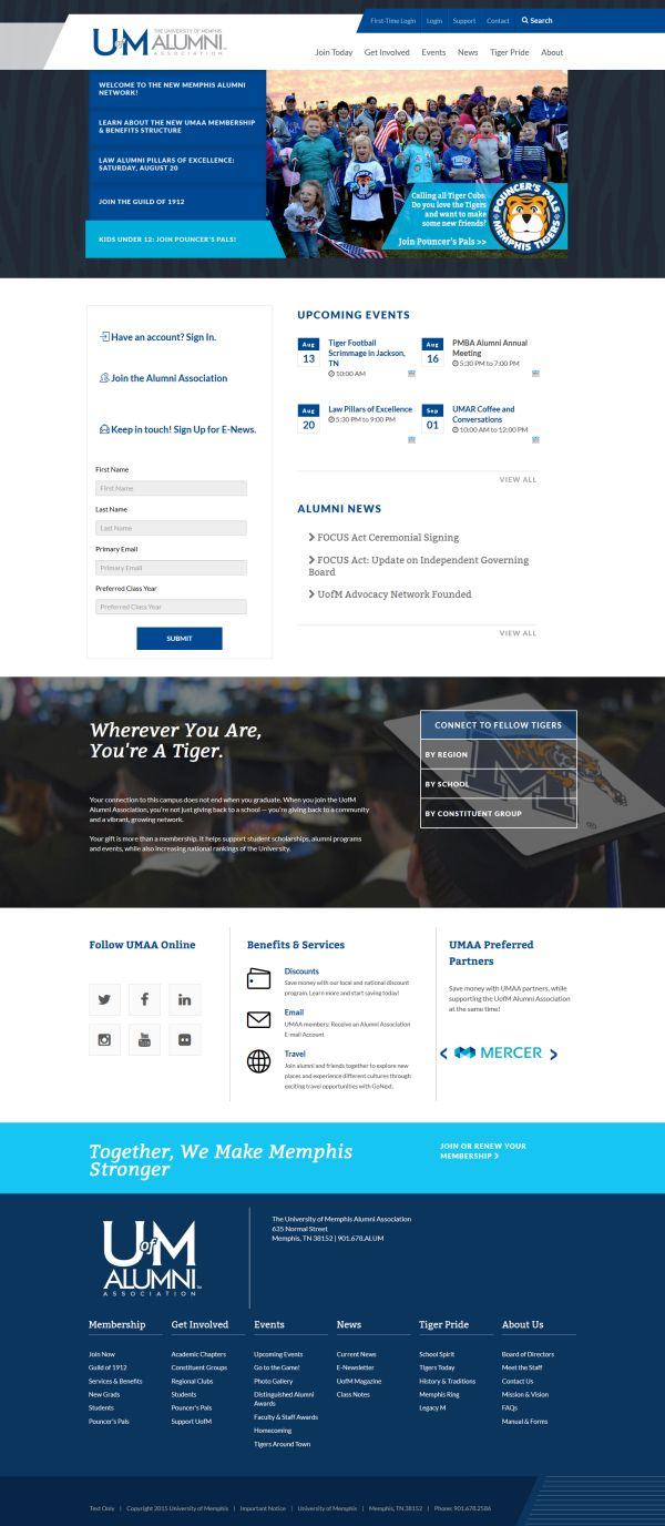iModules - Website: University of Memphis Alumni Association